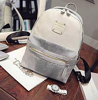 Рюкзак женский кожаный с горизонтальной молнией (серый), фото 1