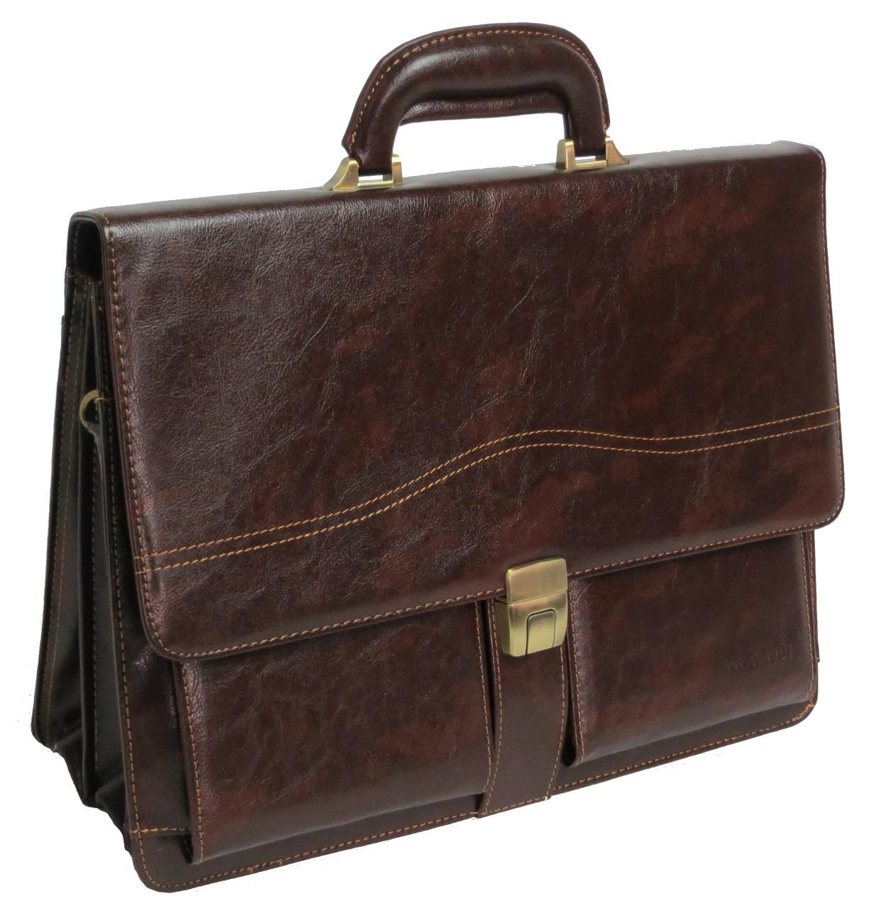 Деловой портфель из искусственной кожи 4U CAVALDI B005 коричневый