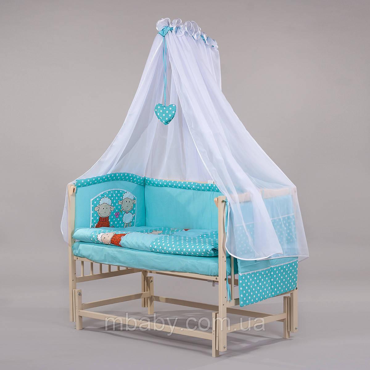 """Детский постельный комплект """"Люкс 04Б"""" 8 элементов с вышивкой"""
