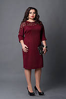 """Красивое бордовое платье с кружевом - """"Амелия"""" код 508"""
