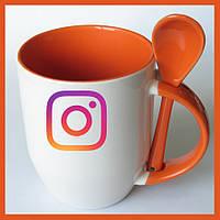 Печать на чашке с ложкой фотографий логотипов картинок
