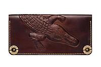 Кожаный кошелек ручной работы Gato Negro Alligator мужской, коричневый (мужские кошельки из натуральной кожи)