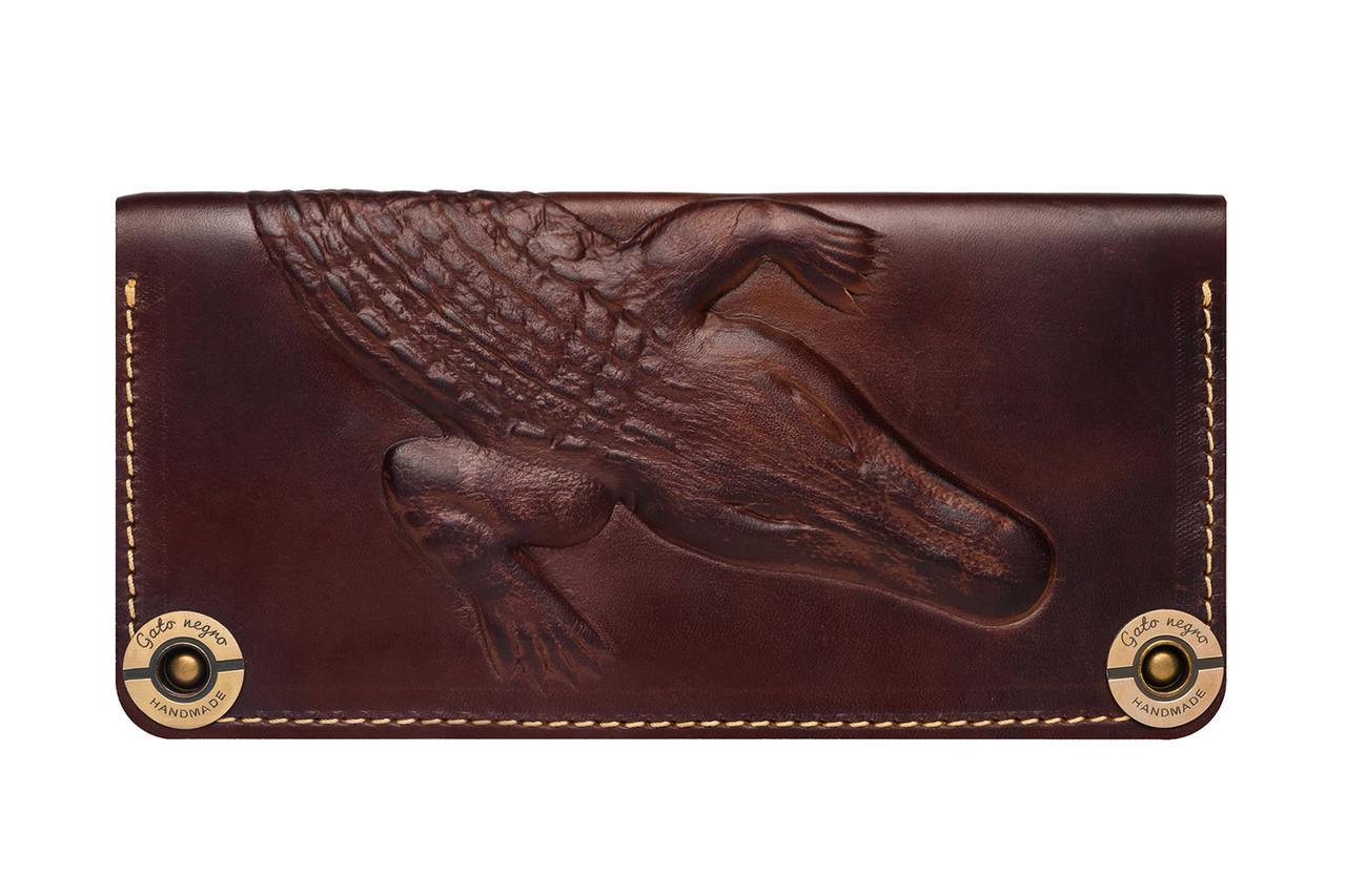 9102faa5cfb1 Кожаный кошелек ручной работы Gato Negro Alligator мужской, коричневый (мужские  кошельки из натуральной кожи)