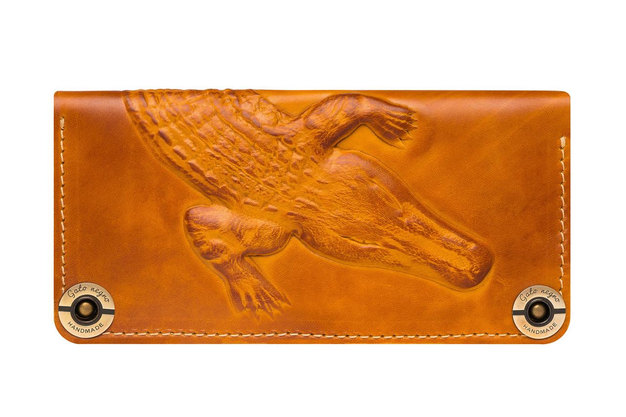 2202b44bb96f Кожаный кошелек ручной работы Gato Negro Alligator мужской, рыжий (мужские  кошельки из натуральной кожи