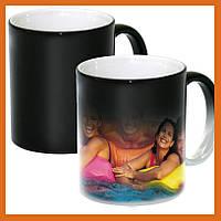 Печать на чашке хамелеон черный  Чашка Хамелеон с Вашим фото  магическая чашка под заказ