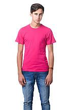 Хлопковая футболка мужская приталенная однотонная красная (фуксия)