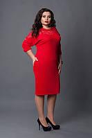 Красное платье со вставками гипюра