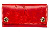 Кожаный кошелек клатч  ручной работы Alfa Big Catswill женский, красный (женские кошельки из натуральной кожи)