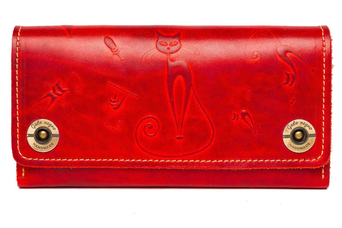 0886d9d3216c Кожаный кошелек клатч ручной работы Alfa Big Catswill женский, красный (женские  кошельки из натуральной кожи)