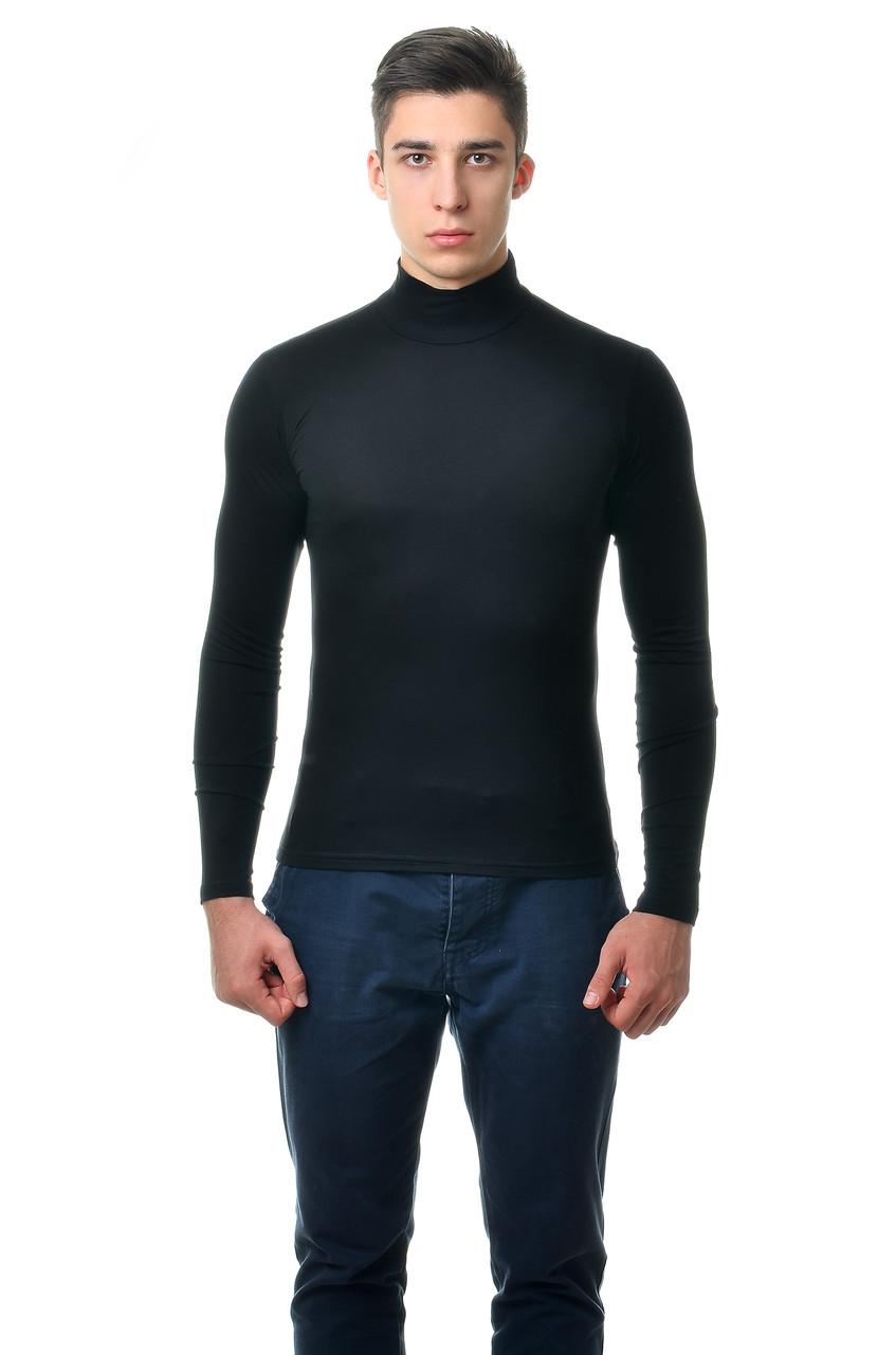 Классическая мужская однотонная водолазка, черная
