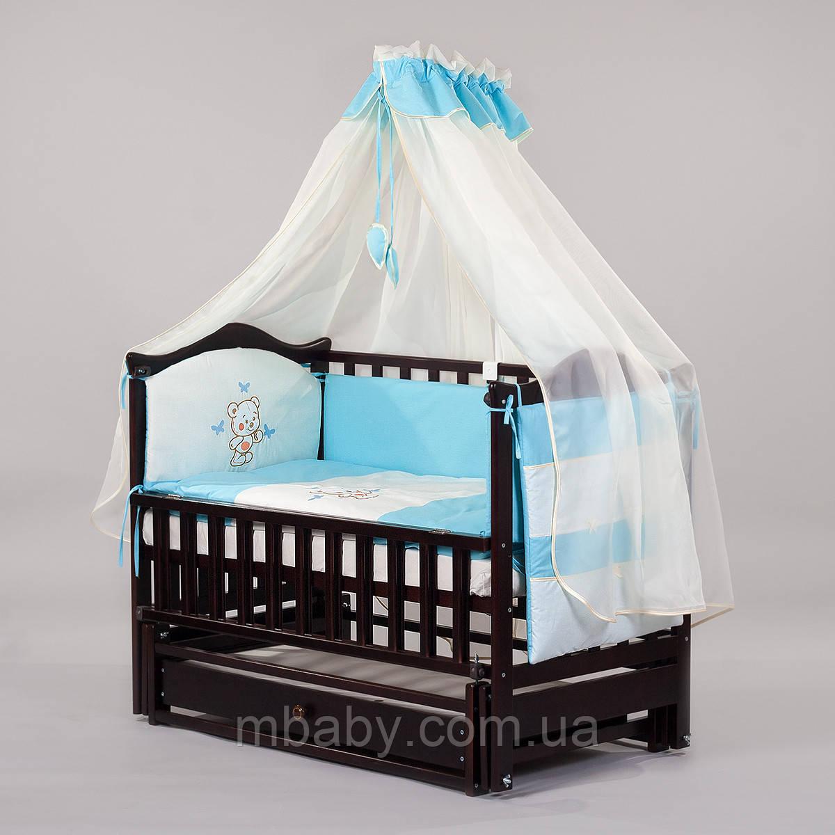 """Детский постельный комплект """"Люкс BEAR 04"""" 8 элементов с вышивкой"""