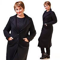 Женское прямое кашемировое осенне-весеннее пальто больших размеров на трех пуговицах. Арт-9781/83