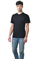 Мужская футболка из стрейч-коттона классического кроя по фигуре, черная