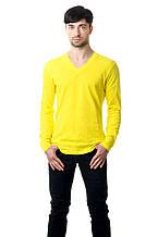 Мужской однотонный реглан с V-образным вырезом, простого кроя по фигуре с длинным рукавом, желтый