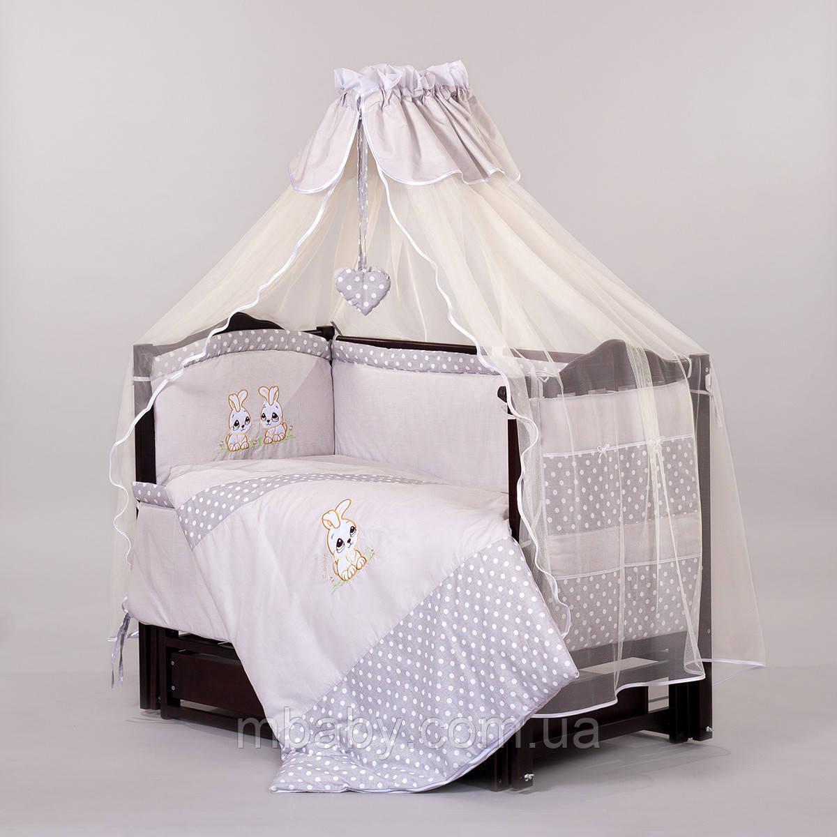 """Детский постельный комплект """"Люкс RABBIT GREY"""" 8 элементов с вышивкой"""