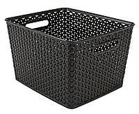 Ящик пластиковый коричневый для хранения 30Х36 см с ручками