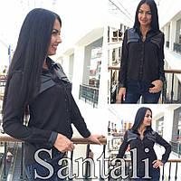 Стильная женская рубашка с вставками из эко кожи,ткань шифон,цвет черный