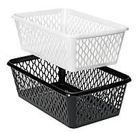 Ящик пластиковый для хранения 14Х24 см черные и белые