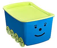 Детский  ящик коробна колесиках пластиковый для игрушек синий с крышкой  40Х60 см