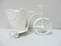 Кашпо-велосипед, белое, 25х18х12,5 см