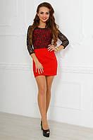 Стильное красное  короткое платье с дорогим итальянским кружевом. Арт-9783/83