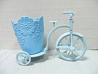 Кашпо-велосипед, голубое, 25х18х12,5 см