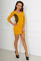 Модное горчичное стрейчевое  платье с кружевными вставками. Арт-9784/83