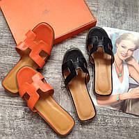 Летние кожаные шлепки Hermes женская обувь Гермес 35 размер 36 размер