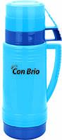 Вакуумный термос голубой со стеклянной колбой 600 мл Con Brio CB - 351