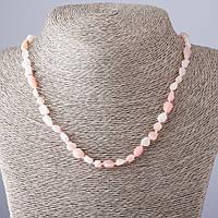 Бусы нат. камень Опал розовый галтовка L-45см d-4-8мм