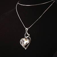 Подвеска на цепочке с кристаллами Сердце белое сильв.