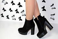 Модные женские ботинки на тракторном каблуке замша