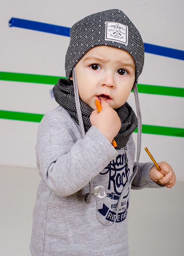 Детская шапка АМАНСИО (набор) для мальчиков оптом размер 42-44-46