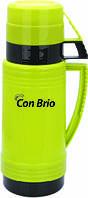 Вакуумный термос зеленый со стеклянной колбой 600 мл Con Brio CB - 351