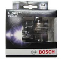 Лампа галогенная BOSCH H4 Gigalight Plus 120% 12V 60/55W, 2 шт, 1987301106