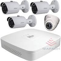 1Мп Комплект видеонаблюдения HDCVI Dahua 1 внутренняя и 3 наружных камеры W1000