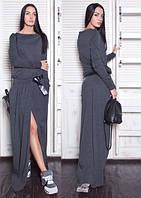 Платье женское, темно-серое, осень-зима P-CRIS №30