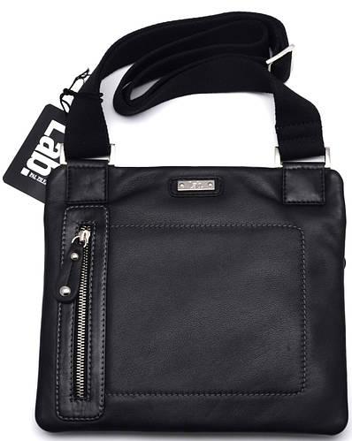 Молодежная кожаная мужская сумка через плече Lab Pal Zileri City 26114/10 черный
