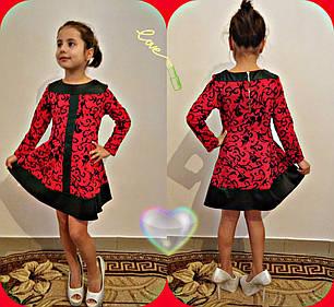 Приталенное платье с узором и вставками из кожи, фото 2