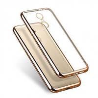 Прозрачный силиконовый чехол с глянцевым ободком для Xiaomi Redmi 4 золотой