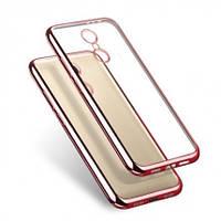 Прозрачный силиконовый чехол с глянцевым ободком для Xiaomi Redmi 4 розовый