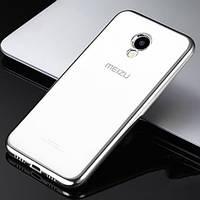 Прозрачный силиконовый чехол с глянцевым ободком для Meizu M5 Серебряный