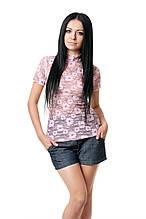 Легкая футболка из гипюра, прилегающего кроя, с коротким рукавом и закрытым горлом, розовая