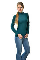 Классического кроя женская водолазка из акрила, однотонная, по фигуре, цвета морской волны