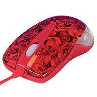 "Мышь A4-X6-999D 2x, PS/2+USB GLaser wheel mouse, ""Роза""- супердизайн!,"