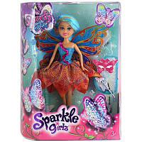 Волшебная фея-бабочка в сине-оранжевом платье (25 см)
