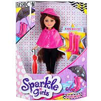 Кукла-модница в осеннем розовом плаще (25 см)