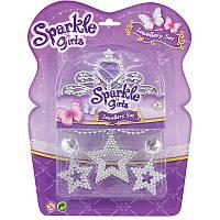 Набор аксессуаров для девочки (диадема, серьги, кулон) с фиолетовыми стразами