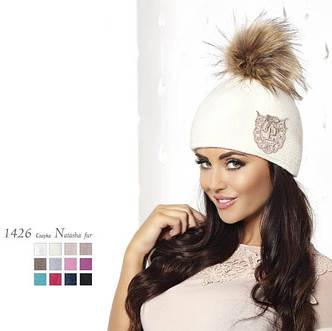Стильная теплая вязаная женская шапка производства Польши., фото 2
