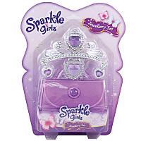 Набор аксессуаров для девочки (диадема, серьги, сумочка) фиолетового цвета
